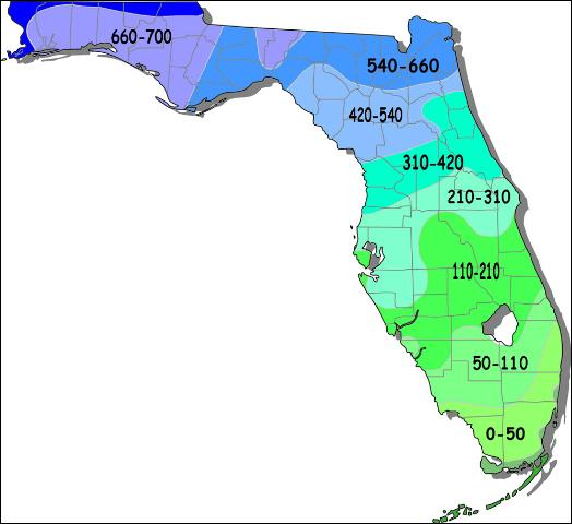 chill hours, florida, map