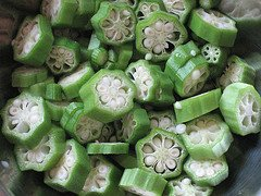 sliced okra pods